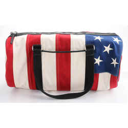 Saint Laurent Natural American Flag Barrel Bag