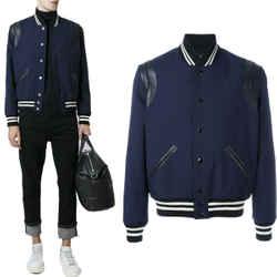 NEW $2,175 SAINT LAURENT Men's Blue Gabardine Wool Leather Trim Teddy Jacket