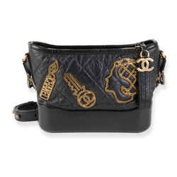 Chanel Black Aged Calfskin Quilted Charms Small Gabrielle Bag