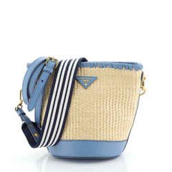 Bucket Bag Woven Raffia with Leather Small