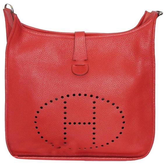Hermes Evelyne Togo 3 Pm 29cm 2011 Red Leather Shoulder Bag