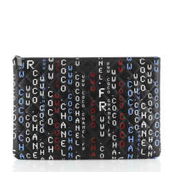 Data Center O Case Clutch Quilted Printed Lambskin Large