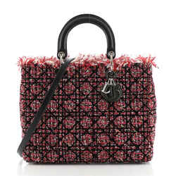 Lady Dior Bag Cannage Quilt Tweed with Leather Large