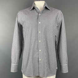 TOM FORD Size XL Grey & White Plaid Cotton Button Up Long Sleeve Shirt