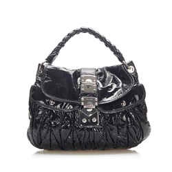 Vintage Authentic Miu Miu Black Lambskin Leather Leather Coffer Satchel France