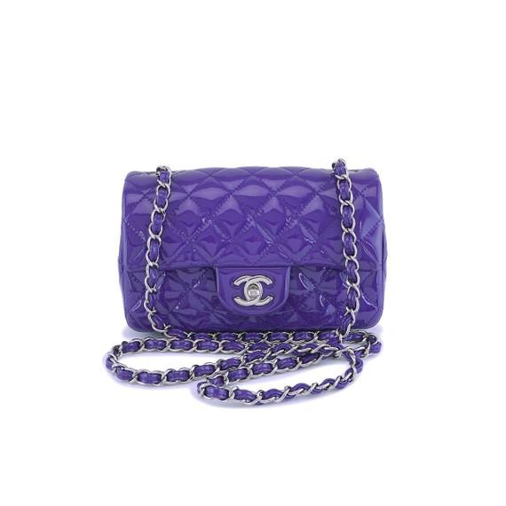 Chanel Purple Violet Patent Rectangular Mini Classic Flap Bag Shw
