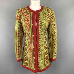 Oscar De La Renta Size 8 Green & Red Floral Collarless Jacket