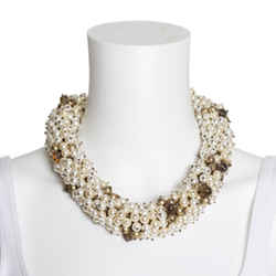 St. John Faux Pearl & Crystal Multistrand Statement Necklace
