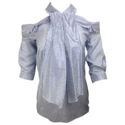 ERDEM Blue & White Elin Striped Silk Blouse