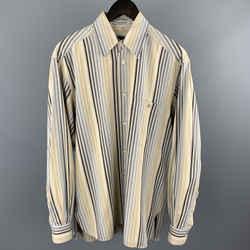 Ermenegildo Zegna Size S Khaki Stripe Cotton Button Up Long Sleeve Shirt