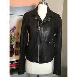 Chrome Hearts Size L Black Leather Moto Silver Hardware Jacket 2400-153-12719