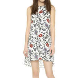 Theory Marigold White Black & Red Floral Aderdale Dress Size 4