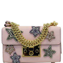 Gucci Padlock Star Small Embroidered Shoulder Bag Pink 432182
