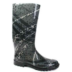 Burberry - Womens Rubber Rain Boots - Green Black Spotted Plaid - Us 9.5 - 40