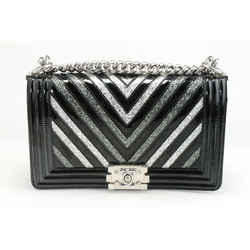 Chanel Patent Glitter PVC Chevron Quilted Medium Boy Flap - Black/Silver