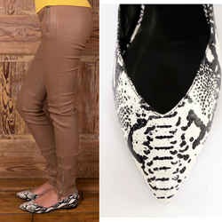 37 NEW $695 SAINT LAURENT Black White Snakeprint Leather POINT TOE BALLET FLATS