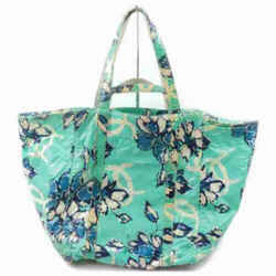 Chanel Green x Blue Floral Shopper Tote 2way 858907