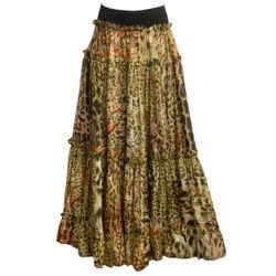 Roberto Cavalli Tan & Orange Leopard Printed Skirt