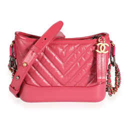 Chanel Pink Chevron Quilted Aged Calfskin Small Gabrielle Hobo