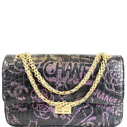 Reissue 2.55 Flap Crocodile Embossed Graffiti Shoulder Bag Black