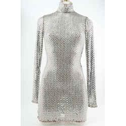 Alessandra Rich Crystal Mesh Turtleneck Midi Dress