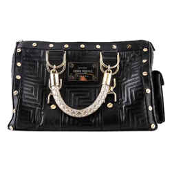 Gianni Versace Snap Out Of It Black Leather Shoulder Bag