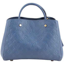 Louis Vuitton Montaigne MM in Blue Denim Monogram Empreinte Leather