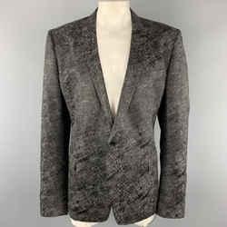 Versace Collection Size 50 Charcoal & Black Metallic Print Sport Coat