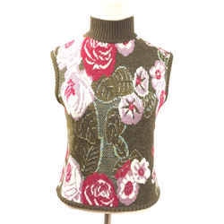 EMANUEL UNGARO VINTAGE Olive/Multicolor Floral Wool & Metallic Gold  Sleeveless Top Size: Small - Estimated