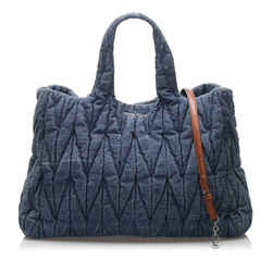 Vintage Authentic Miu Miu Blue Navy Denim Fabric Matelasse Satchel France