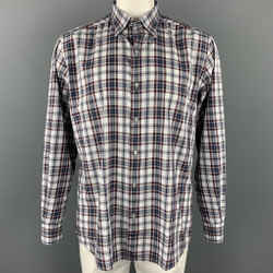 ERMENEGILDO ZEGNA Size XL White & Navy  Plaid Cotton Long Sleeve Shirt