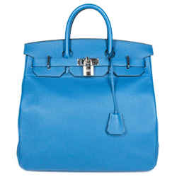 Hermes - Birkin 40 Hac Togo Tote Bag - Ocean Blue Leather Silver Lock Key Large