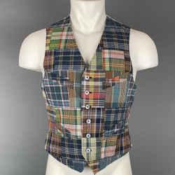 POLO by RALPH LAUREN Size S Multi-Color Patchwork Cotton Buttoned Vest
