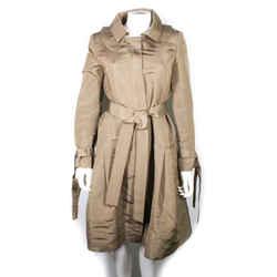 Oscar De La Renta - Long Belted Trench Coat - Green Silk Vintage Jacket - Us 2