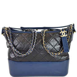 Gabrielle Medium Quilted Leather Hobo Bag Black/Blue