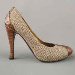 Bottega Veneta Size 6.5 Brown Houndstooth Fabric & Alligator Leather Pumps