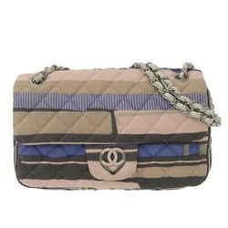 Auth Chanel Cotton Matrasse Chain Shoulder Bag Striped Multicolor 12s Leather