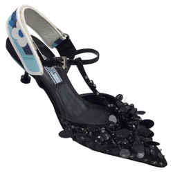 Prada Black Embellished Satin Mary Jane Pumps