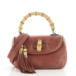 New Convertible Bamboo Top Handle Bag Leather Medium