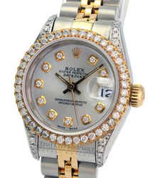 Rolex Lady Datejust  Silver Diamond Dial Lugs Bezel 26mm -quickset