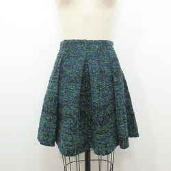 4 - Proenza Schouler Blue Green Boucle Knit Pleated Skater Skirt 0130GM