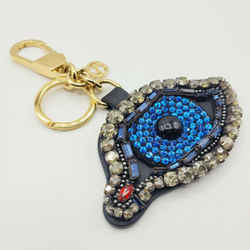 Gucci Black Leather Eye Keychain With Crystals And Beads 431448 1093