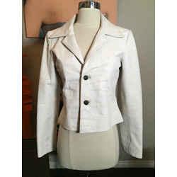 Chrome Hearts Size M White Cracket Leather Moto Jacket 2400-121019