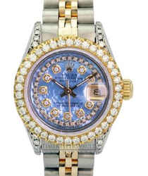 Rolex Lady Datejust Blue Mop Diamond Dial Diamond Bezel 1.40ctw-