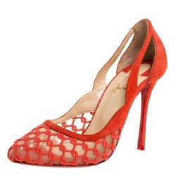 Christian Louboutin orange Suede And Mesh K Racas Pumps Size 38