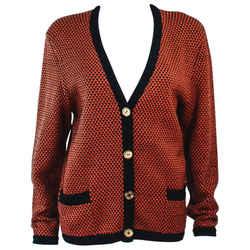 Celine Orange And Brown Printed Wool Sweater Size 6-8
