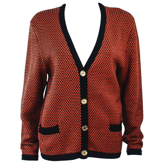 Celine Orange And Brown Printed Wool Sweater Size 6-8