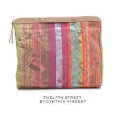 $245 Nwt Cynthia Vincent Embroidered Folder Over Clutch Neon Jacquard Edan Bag