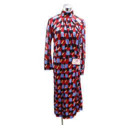 Prada Black Blue Red Jersey Longsleeve Dress Sz 2