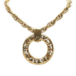 Vintage Authentic Chanel Gold Brass Metal Ring Pendant Necklace France